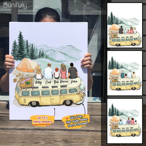 Personalized family members canvas print gift for the whole family - Camping - 2426