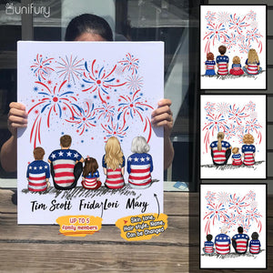 Personalized family members canvas print gift for the whole family - UP TO 5 PEOPLE - 4th Of July - 2426