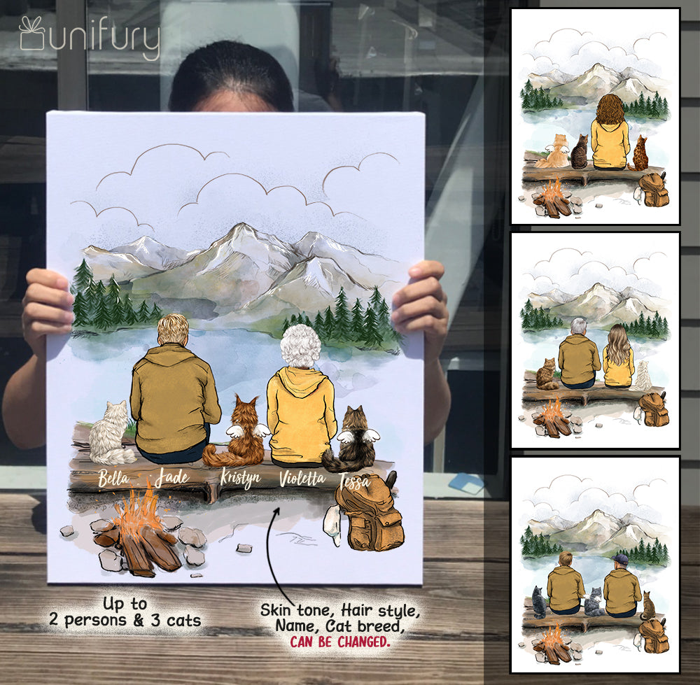 Personalized gifts for cat lovers Canvas Print Wall Art - CAT & COUPLE - Hiking - Mountain - 2415