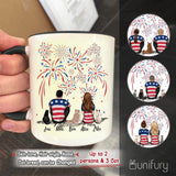 Personalized cat & couple accent mug with two-tone rim and handle 4th Of July gift for cat mom dad lover - 2408