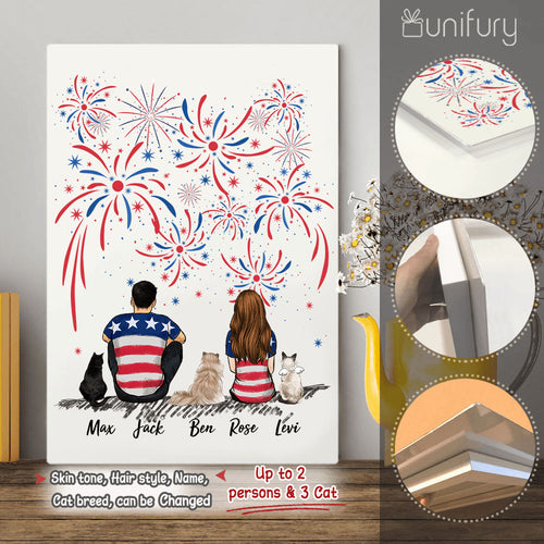 Personalized custom cat & couple Metal Print 4th Of July - 2408