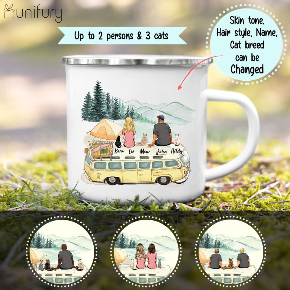 Personalized gifts for cat lovers Campfire Mug - CAT & COUPLE - Camping