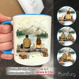 Personalized cat & couple accent mug with two-tone rim and handle gift for cat mom dad lover - Mountain - Hiking - 2408