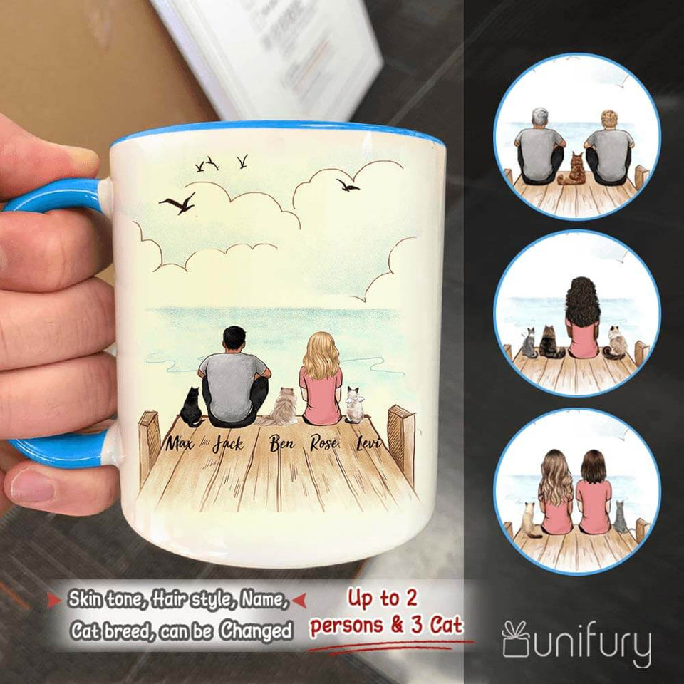 Personalized gifts for cat lovers Accent Mug - CAT & COUPLE - Wooden Dock - 2408