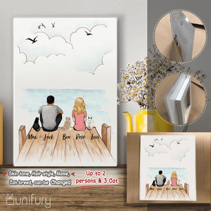 Personalized custom cat & couple Acrylic Print gift for cat mom dad lover owner - Wooden Dock - 2408