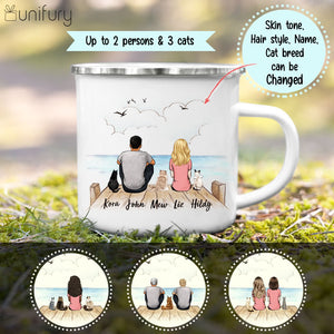 Personalized gifts for cat lovers Campfire Mug - CAT & COUPLE - Wooden Dock
