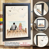 Personalized custom cat & couple Framed Canvas - Wooden Dock - 2408