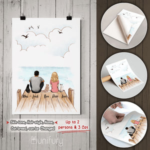 Personalized custom cat & couple Peel & Stick Poster - Wooden Dock - 2408