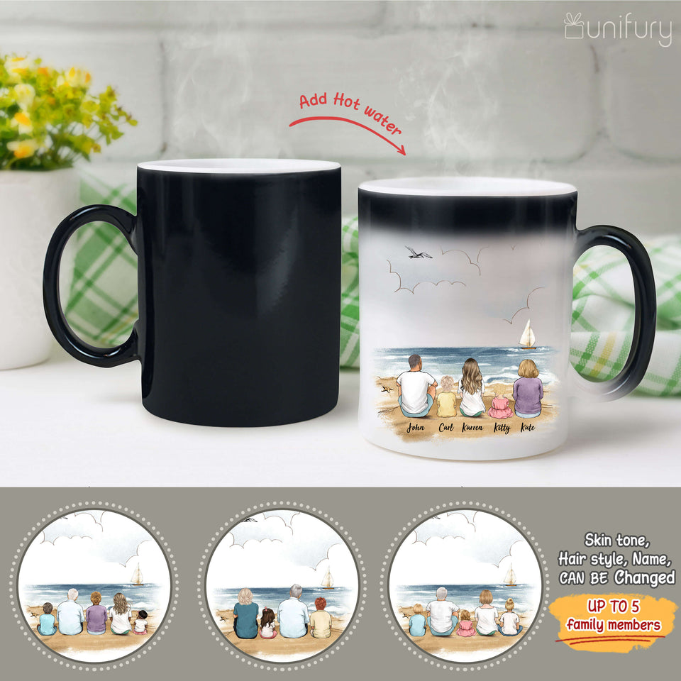 Personalized family members Magic Color Changing Mug gift for the whole family - UP TO 5 PEOPLE - Beach - 2426