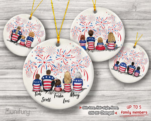 Personalized family Christmas Ceramic Ornaments gifts for the whole family 4th Of July (PRINTED ON BOTH SIDES) - UP TO 5 PEOPLE - 2426