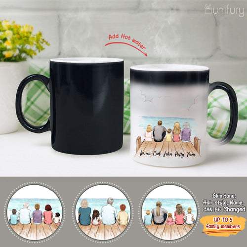 Personalized family members Magic Color Changing Mug gift for the whole family - UP TO 5 PEOPLE - Wooden dock - 2426
