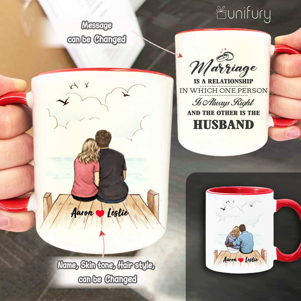 Personalized Accent Mug Gifts For Him For Her Couple Wooden Dock