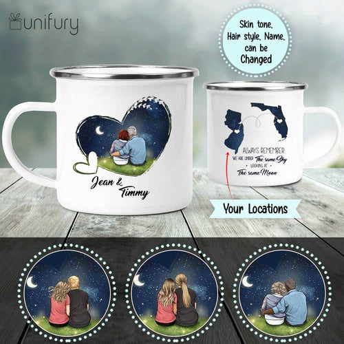 Personalized couple long distance relationship campfire mug gifts for him for her - Night Sky