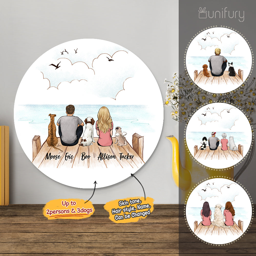 Personalized custom dog & couple metal print with shapes home decor for dog mom dad lover owner - New home housewarming gift ideas - Wooden dock - 2431