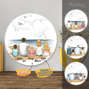 Personalized custom family members metal print with shapes home decor for the whole family - New home housewarming gift ideas - UP TO 5 PEOPLE - Beach - 2431