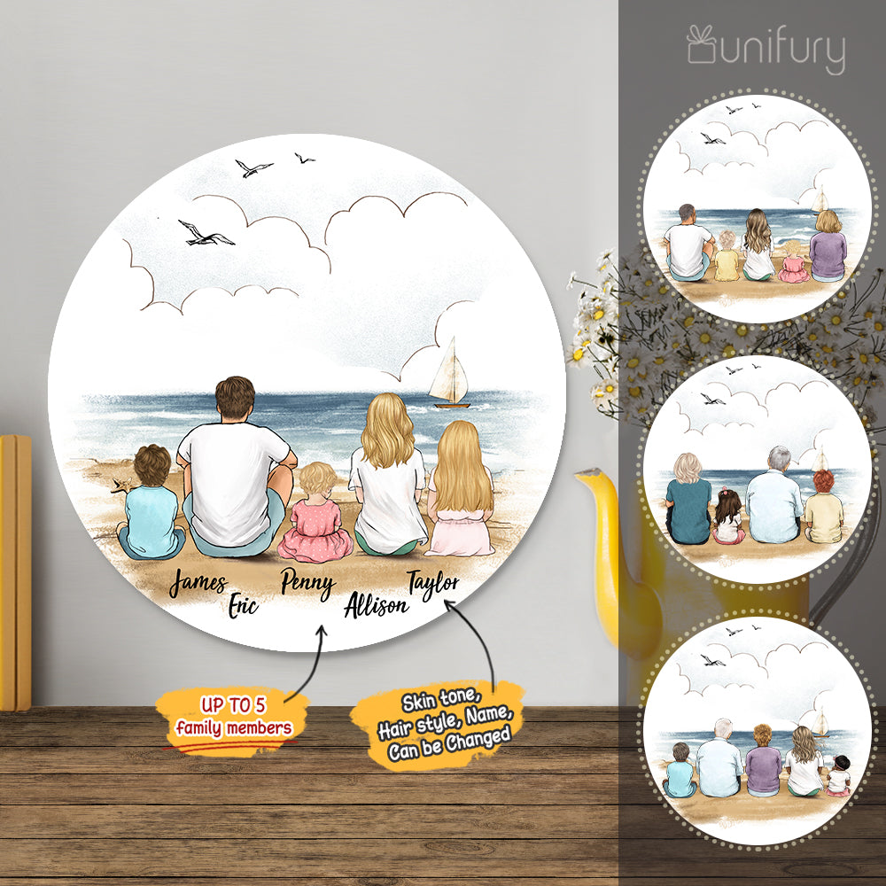 Personalized custom family members metal print with shapes home decor for the whole family - New home housewarming gift ideas - Beach - 2431