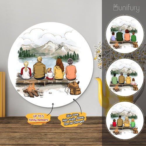 Personalized custom family members metal print with shapes home decor for the whole family - New home housewarming gift ideas - UP TO 5 PEOPLE - Hiking - Mountain - 2431