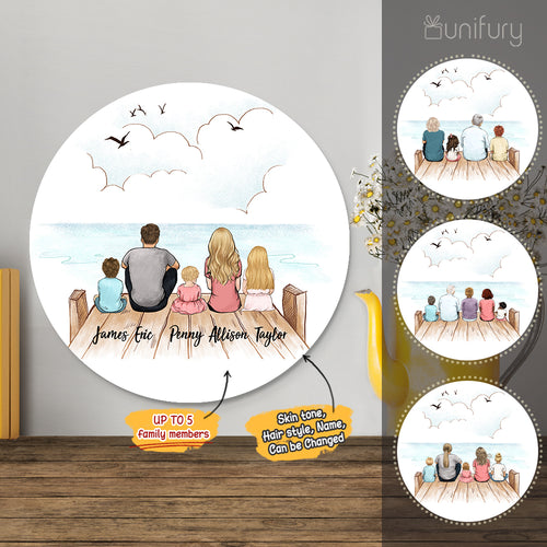 Personalized custom family members metal print with shapes home decor for the whole family - New home housewarming gift ideas - UP TO 5 PEOPLE - Wooden Dock - 2431