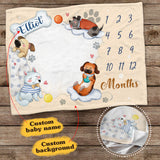 Personalized baby milestone fleece blanket - Cute dog background