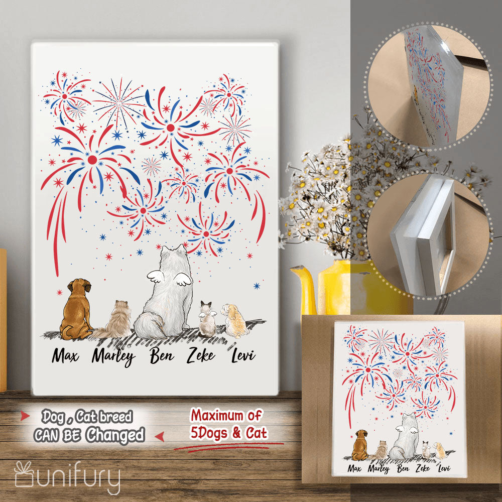 Personalized dog & cat Acrylic Print 4th Of July - 2283