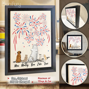 Personalized dog & cat Framed Canvas 4th Of July gift for dog cat mom dad lover owner - 2283