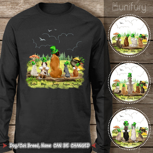 [BLACK] Personalized custom dog & cat St Patrick's Day long sleeve - 2422