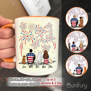 Personalized dog & couple accent mug with two-tone rim and handle 4th Of July gift for dog mom dad lover - 2269