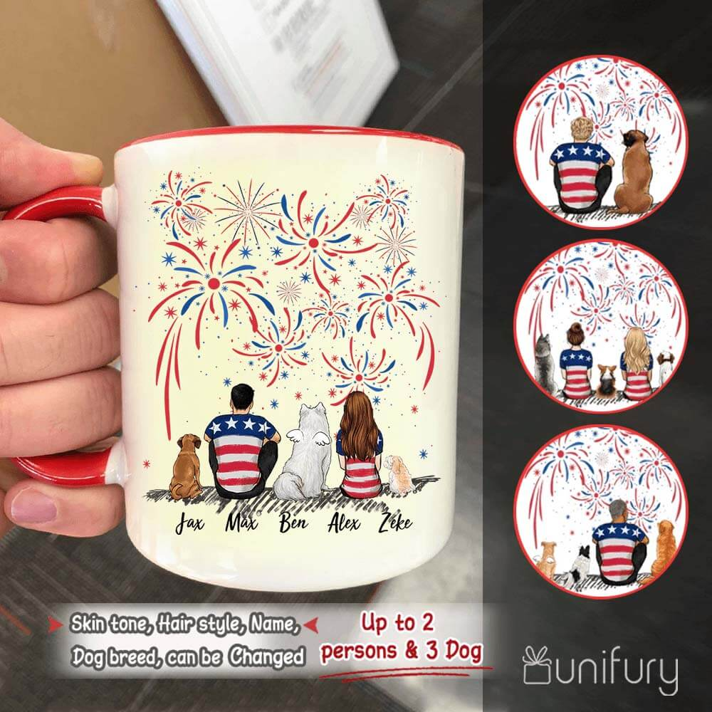 Personalized dog & couple accent mug 4th Of July gift for dog mom dad lover - 2269