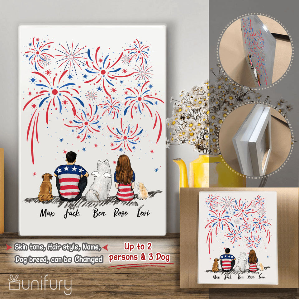 Personalized custom dog & couple Acrylic Print 4th Of July - 2340