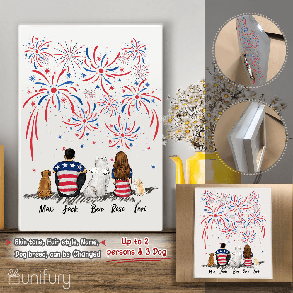 Personalized custom dog & couple Acrylic Print 4th Of July gift for dog mom dad lover owner - 2340