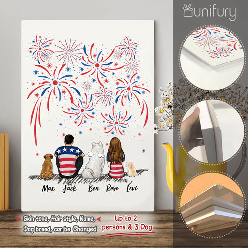 Personalized custom dog & couple Metal Print 4th Of July - 2340