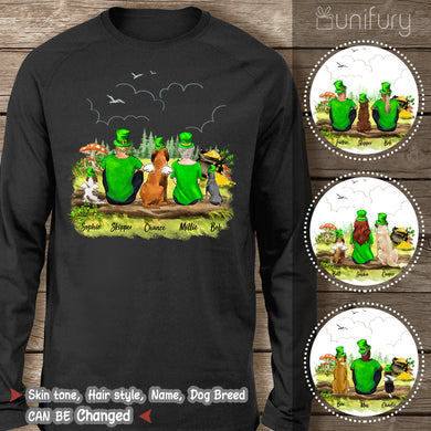 [BLACK] Personalized custom dog & couple St Patrick's day long sleeve for dog mom dad lover owner - 2422