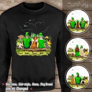 [BLACK] Personalized custom dog & couple St Patrick's day sweatshirt - 2422