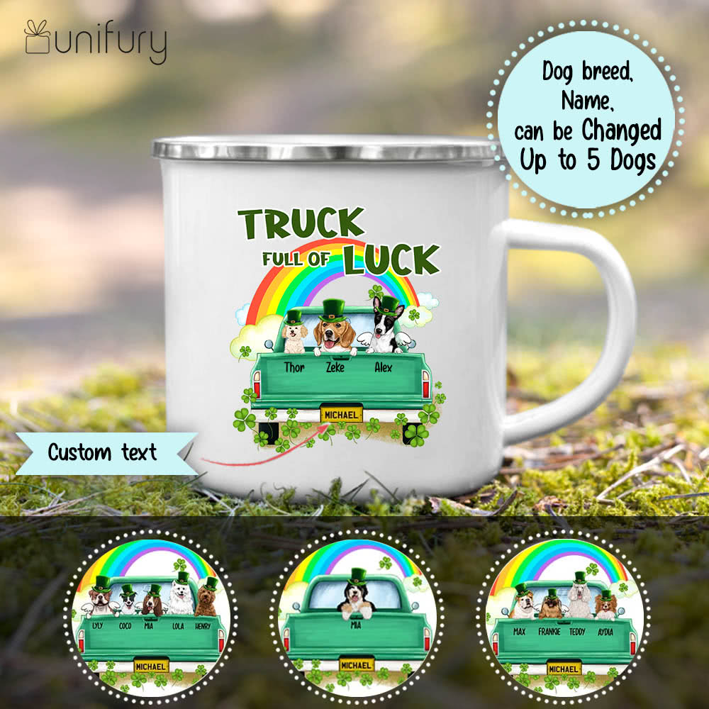 Personalized gifts for dog lovers campfire mug - St. Patrick's Day - Truck full of luck