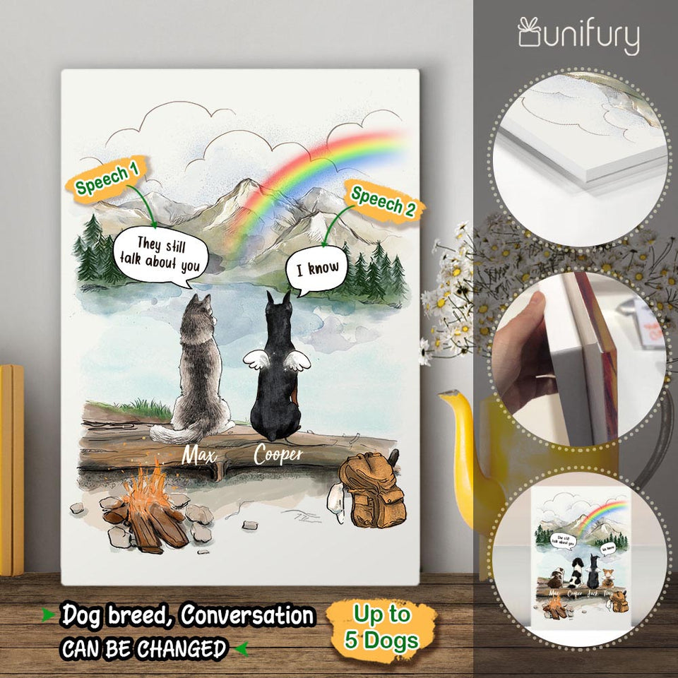 Personalized dog memorial gifts Rainbow bridge Acrylic Print They still talk about you conversion - Mountain - Hiking