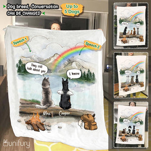 Personalized dog memorial gifts Rainbow bridge Fleece Blanket They still talk about you conversation - Mountain - Hiking