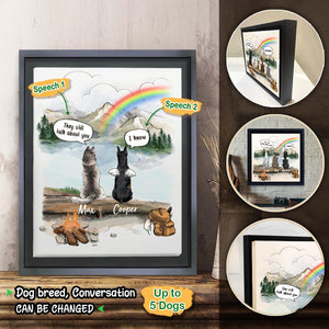 Personalized dog memorial gifts Rainbow bridge Framed Canvas They still talk about you conversation - Mountain - Hiking
