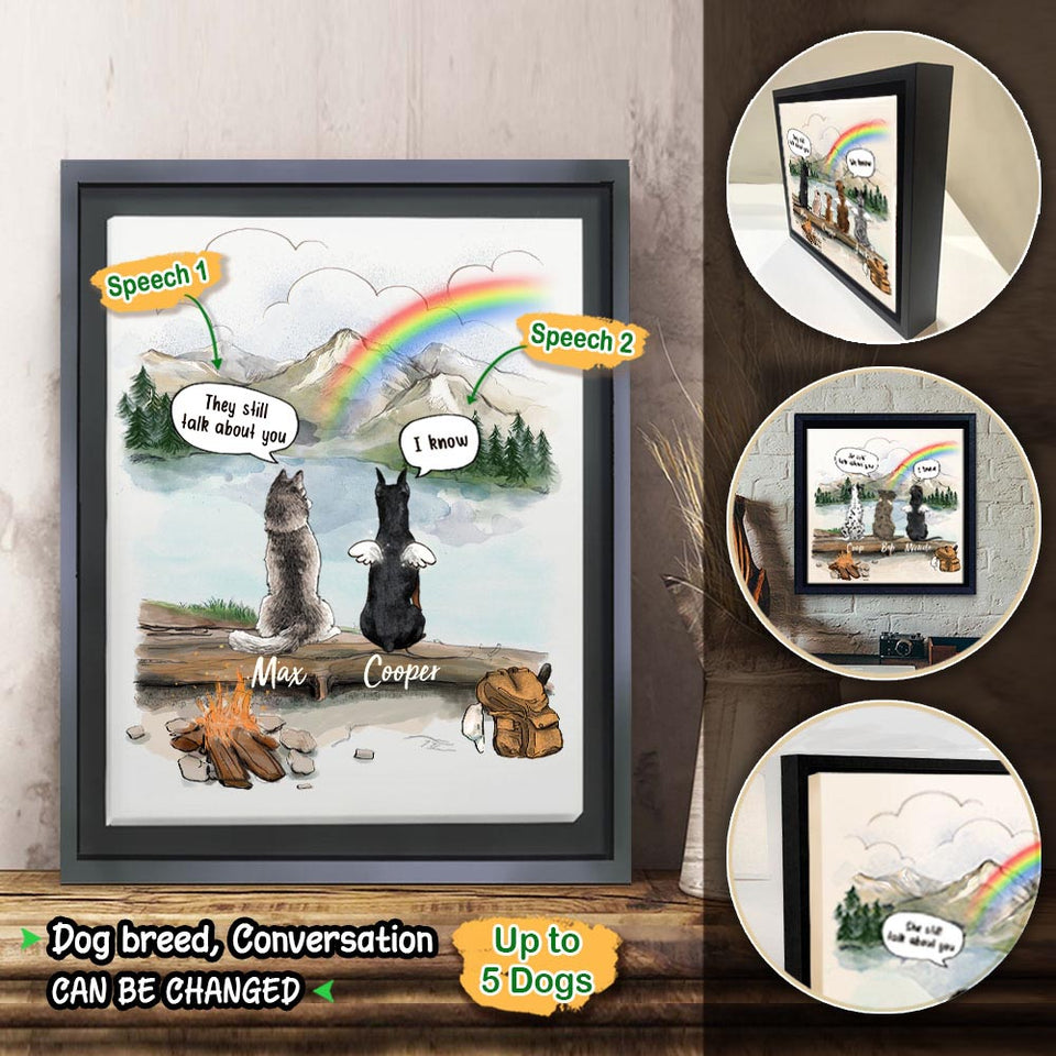 Personalized dog memorial gifts Rainbow bridge Framed Canvas They still talk about you conversion - Mountain - Hiking