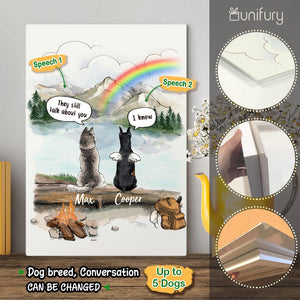 Personalized dog memorial gifts Rainbow bridge Metal Print They still talk about you conversation - Mountain - Hiking