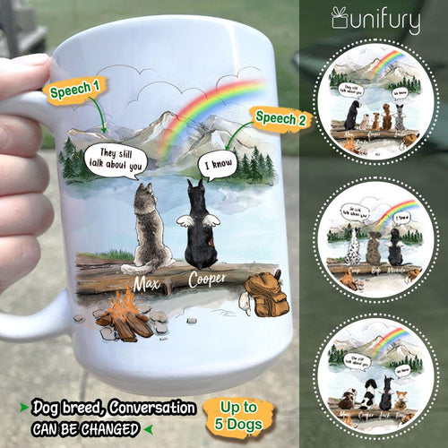 Personalized dog memorial gifts Rainbow bridge Coffee Mug They still talk about you conversation - Mountain - Hiking