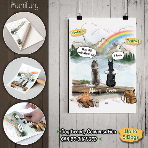 Personalized dog memorial gifts Rainbow bridge Peel & Stick Poster They still talk about you conversation - Mountain - Hiking