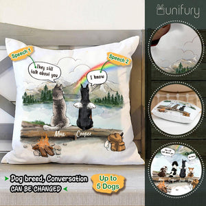 Personalized dog memorial gifts Rainbow bridge Throw Pillow They still talk about you conversion - Mountain - Hiking
