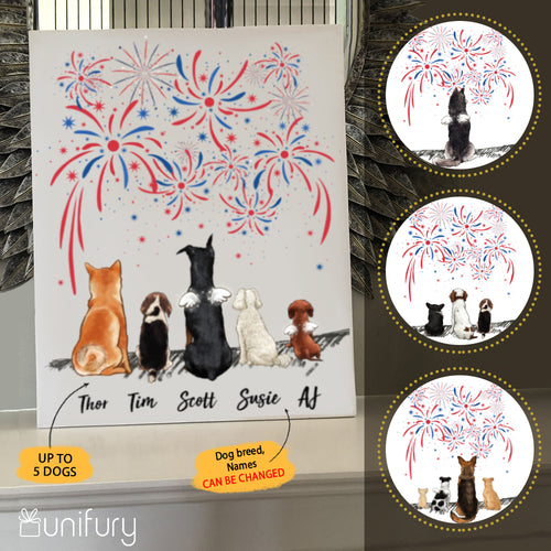 Personalized custom dog canvas print canvas art Fourth 4th of July - 2343