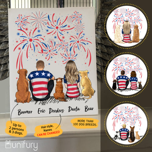 Personalized custom dog & couple canvas print canvas art Fourth 4th of July gift for dog mom dad lover owner - 2343