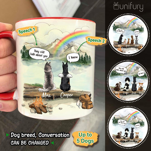 Personalized dog memorial gifts Rainbow bridge Accent Mug They still talk about you conversation - Mountain - Hiking