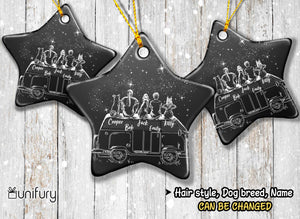 Personalized dog Christmas Ceramic Ornament gifts for dog lovers (PRINTED ON BOTH SIDES) - DOG & COUPLE - Car Camping - Night Sky