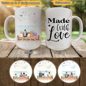Personalized gifts for the whole family Coffee Mug - UP TO 5 PEOPLE - CUSTOM MESSAGE - Wooden dock - 2426