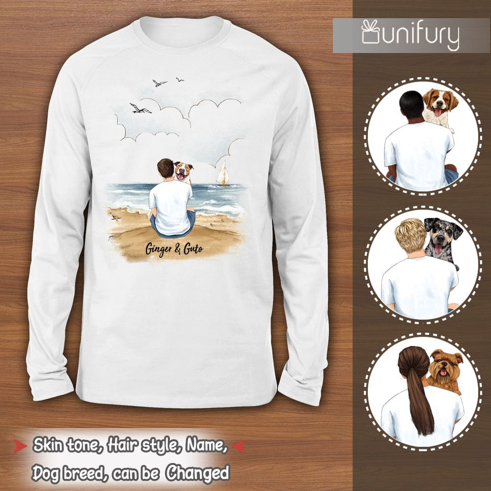 [FRONT SIDE] Personalized long sleeve gifts for dog lovers - Dog Dad - Beach