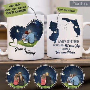 Personalized Couple Long Distance Relationship Coffee Mug Gifts For Him For Her - Night Sky