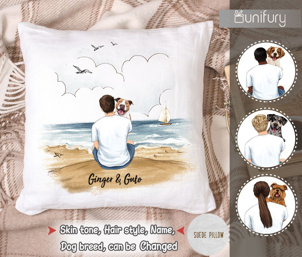 Personalized pillow gifts for dog lovers - Dog Dad - Beach